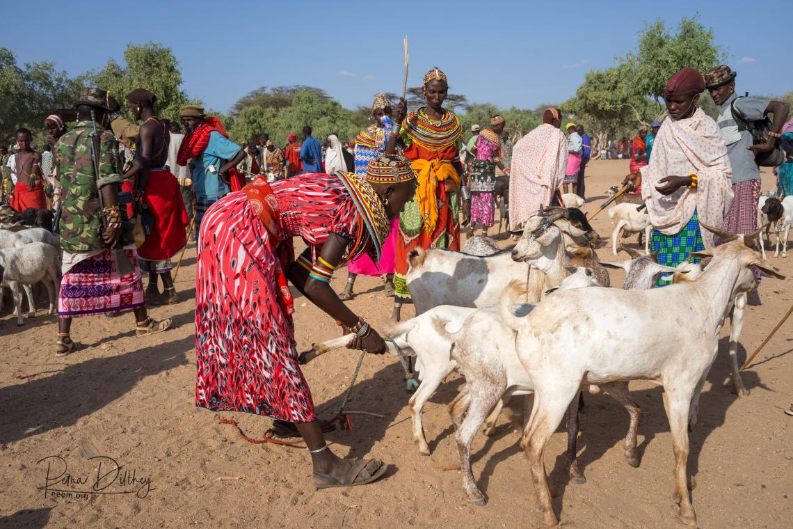 Women selling goats